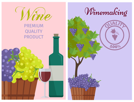 Wine of 100 Premium Quality Promotional Poster 向量圖像