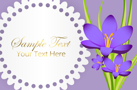 Cute Congratulation Postcard with Crocus Flower