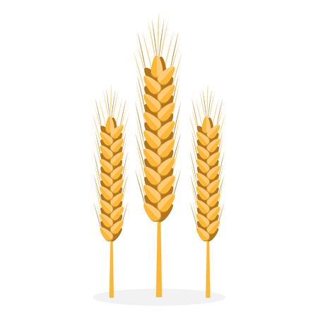 Golden Organic Bread Spikes Isolated Illustration