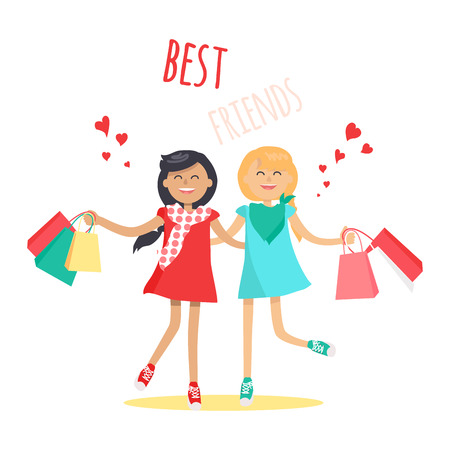 Shopping with Best Friend Flat Vector Concept
