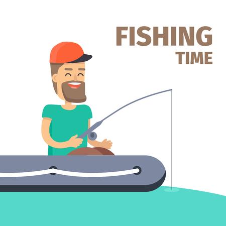 Fishing time. Fisherman Character Illustration