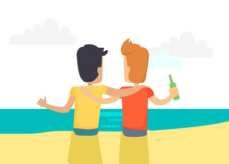 Two Best Friends Drinking Beer at Seaside Vector