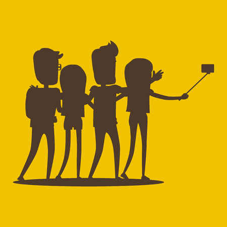Silhouettes of Young Modern People Pose for Selfie
