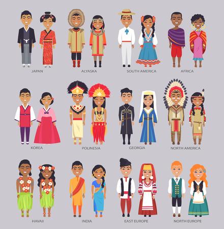Paare in traditionellen Kleidern präsentieren Länder Vektorgrafik