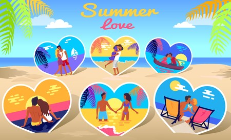 Couple in Love on Sea Photos on Beach Background Ilustrace