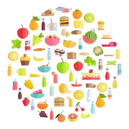おいしい食品、食料品、ドリンク、有機果物や野菜形成サークル イラスト セット。