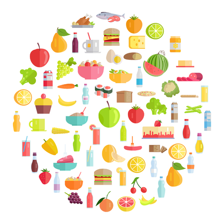 Tasty food, grocery products, refreshing drinks, organic fruits and vegetables formed in circle illustrations set. Illustration