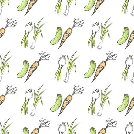 녹색 오이, 건강한 당근과 매운 부추 일러스트