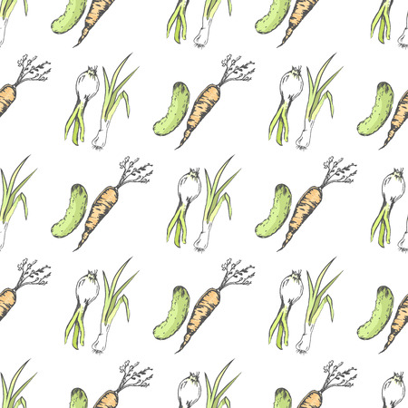 Green Cucumber, Healthy Carrot and Spicy Leek Illustration