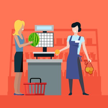 Compras en la tienda de comestibles ilustración vectorial.