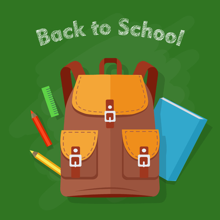 Back to School. Brown Backpack. Office Supplies Illustration
