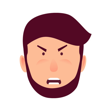 Emotion of Strong Anger Isolated Illustration