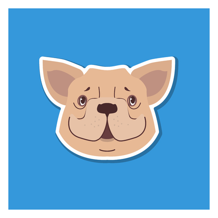 Canine Smiling Face of French Bulldog Drawn Icon Иллюстрация
