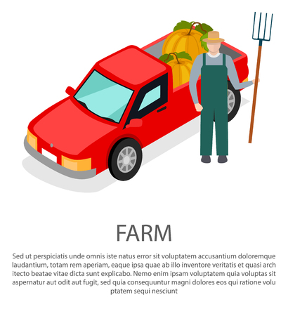Farmer with a Pitchfork in Hat near Pick-up Car