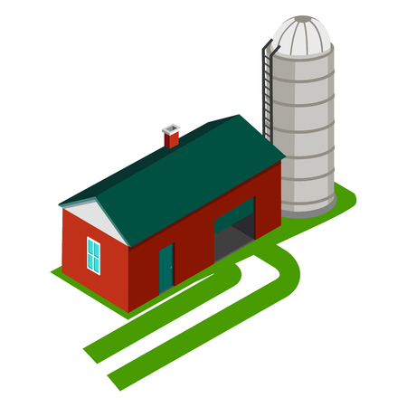 Cereal Silo and Storage House Vector Illustration