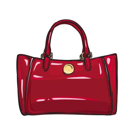 Fashionable Glossy Red Bag Isolated Illustration Çizim