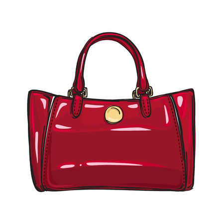 Fashionable Glossy Red Bag Isolated Illustration Иллюстрация