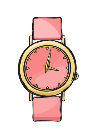 Pink Glamorous Women Watch Isolated Illustration