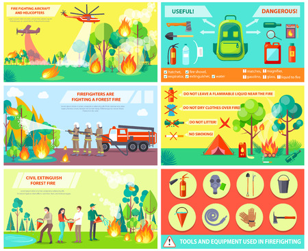 Fighting with Fire in Forest and Rules Collage Vectores
