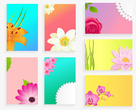 Vector Poster of Colorful Blossoms Set on Greeting