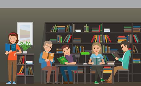 Les élèves lisent manuel dans la bibliothèque vecteur plat Banque d'images - 88778710