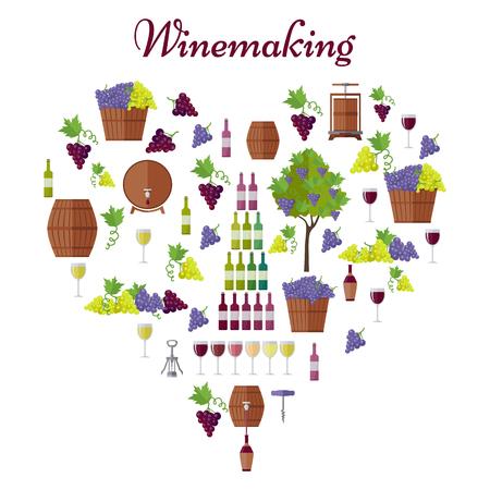 Elite Winemaking Poster Vector in Heart Shape Illustration
