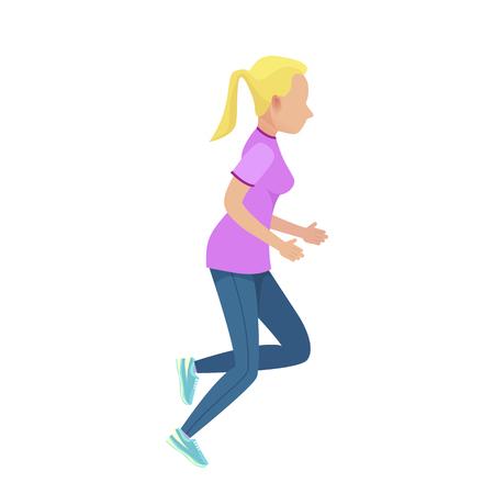 Junge blonde Mädchen in Slinky Sport Form Laufen Standard-Bild - 88835386