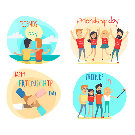 Celebrating Friendship Day Vector Concepts Set Reklamní fotografie - 88835391