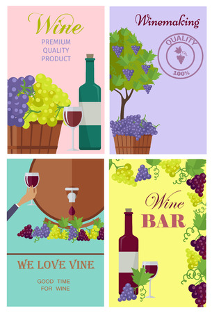 Winemaking and Wine Bar Promotional Posters Set