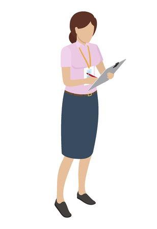 Woman with Name Badge Writting on Gray Tablet Illustration