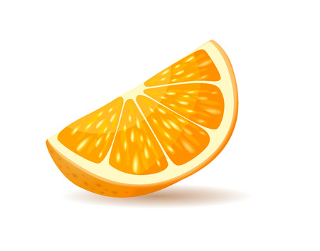 Orange slice with peel. Piece of juicy citrus realistic, glossy vector with shadow isolated on white background. Fresh exotic fruit illustration for healthy food and natural nutrition concepts design