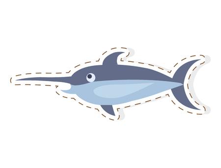 Pez espada lindo de dibujos animados Vector plano adhesivo o icono Foto de archivo - 88839147