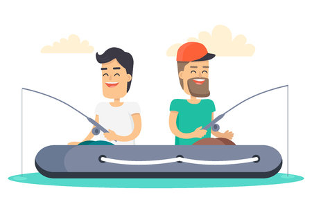 Men out on Fishing in Boat Isolated Illustration