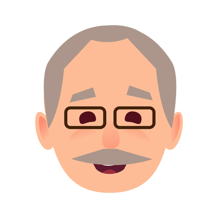 Smiling Old Man in Glasses Face Flat Vector Icon
