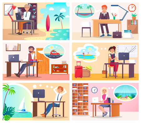 Mensen op het werk dromen over vakantie aan zee Stock Illustratie