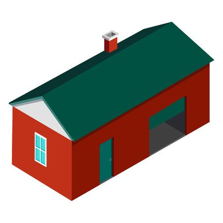 농부 집 건물에 격리 된 흰색 배경