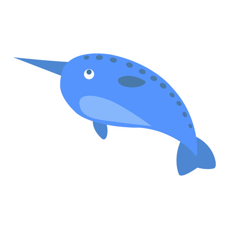 Cute Narwhal Cartoon Flat Vector Sticker or Icon Illustration