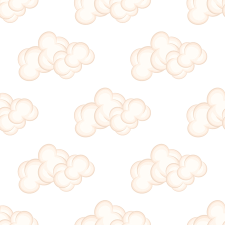 Seamless Pattern with Bushy Pink Clouds, Vector