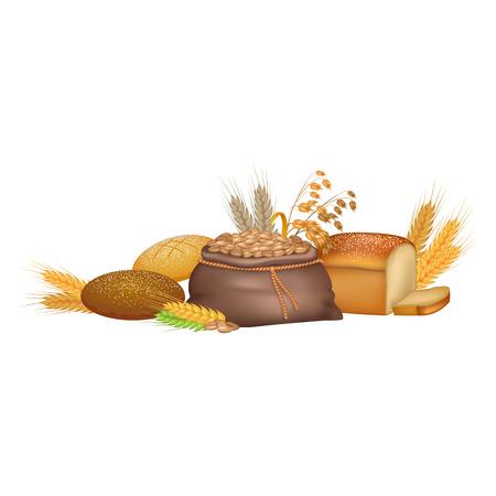 穀物や農産物のカラフルなポスター  イラスト・ベクター素材