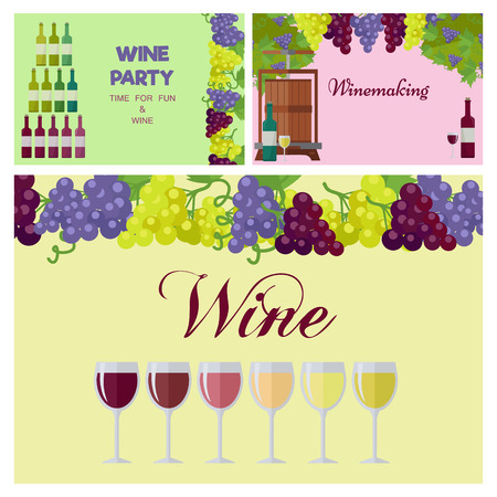 Wine Party Poster with Glasses Line and Grapes
