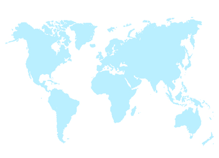 Blue Map of World Vector Illustration Isolated