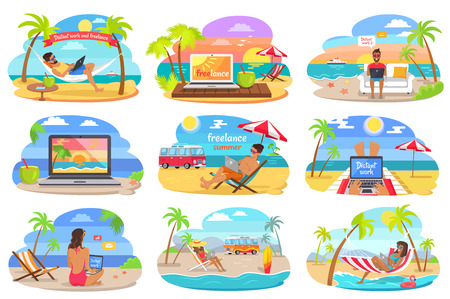 Distant Work and Freelance on Beach during Summer Ilustrace