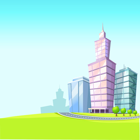 Urban Landscape with Skyscrapers Illustration 向量圖像