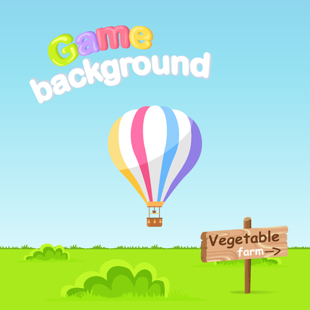 Game Background. Vegetable Farm Sign Board Vector Illustration