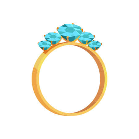 Gold Ring With Turquoise Gems Isolated Illustraion