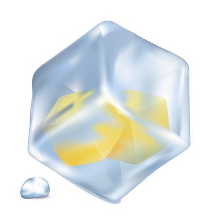 Frozen Lemon Cubes in Ice Isolated Illustration Illustration