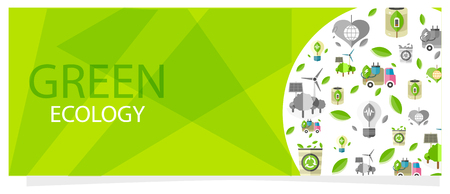 Green Ecology Flyer with Circle Full of Eco Icons Иллюстрация