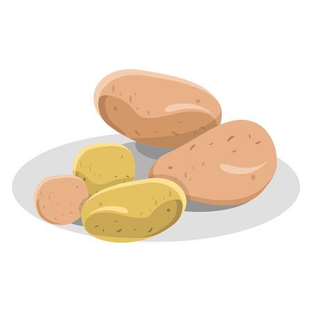 흰 접시 그림에 새롭고 핑크 감자