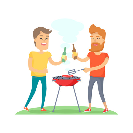 Two Man Fried Meat on Barbecue Friends Forever Illustration