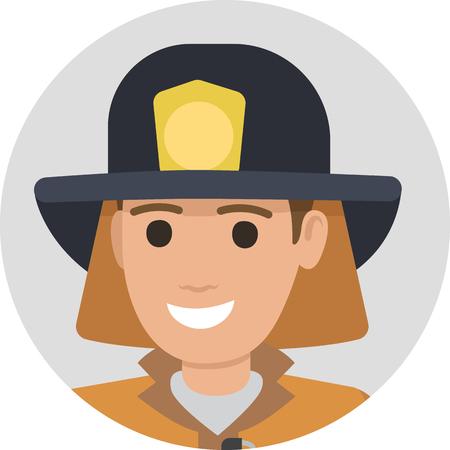 Vrolijke brandweerman in beschermende pak en zwarte hoed Stock Illustratie